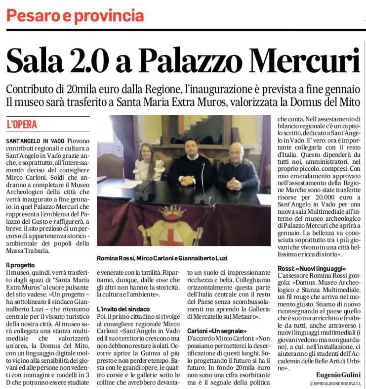 SALA 2.0 A PALAZZO MERCURI . CONTRIBUTO DI 20.000 EURO DELLA REGIONE
