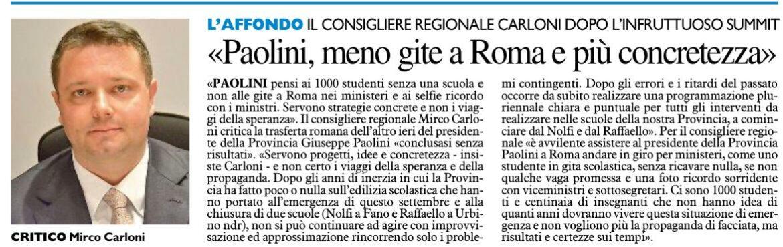 """CARLONI : """"PAOLINI LA SMETTA CON LE GITE A ROMA"""""""