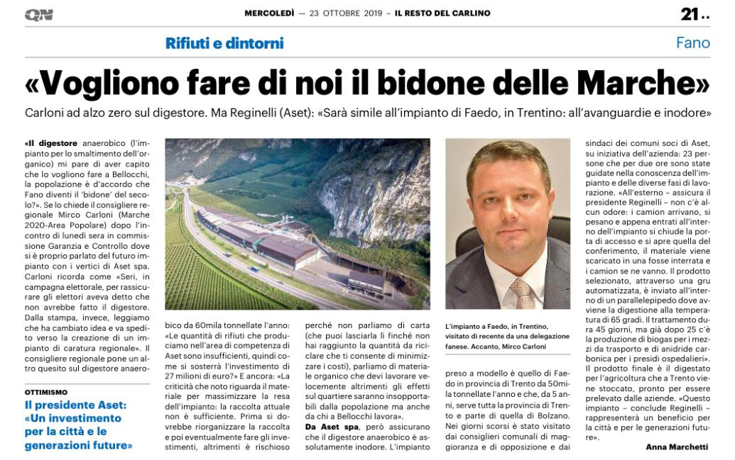 """CARLONI: """" VOGLIONO FARE DI NOI IL BIDONE DELLE MARCHE"""""""