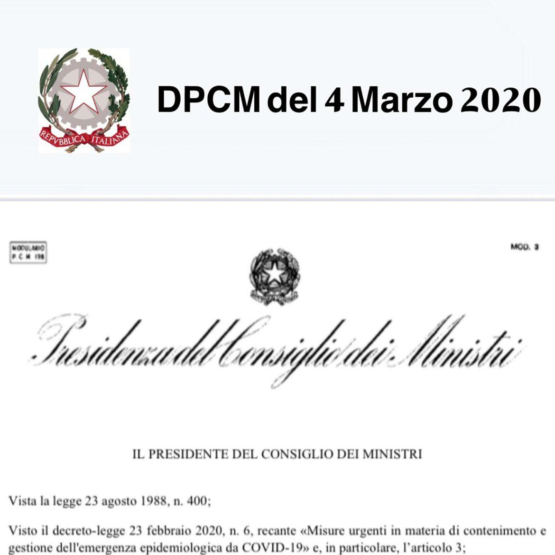 DPCM 4 MARZO 2020 –  CORONAVIRUS – GOVERNO